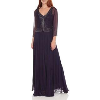 J Laxmi Women's Violet Beaded Chiffon Dress with Jacket