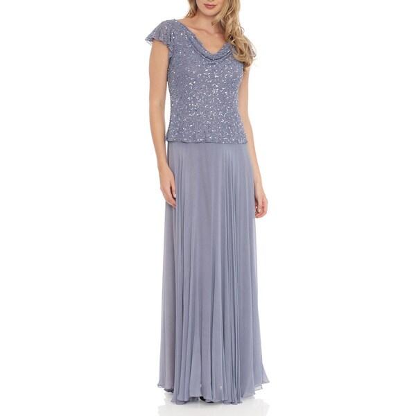 J Laxmi Women's Dusty Blue Beaded Cowl Neck Dress