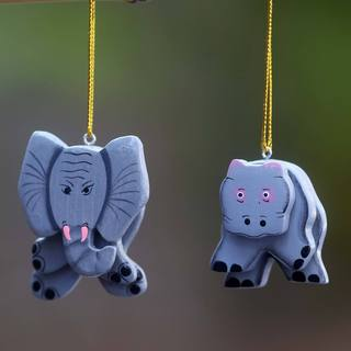 Set of 2 Albesia Wood 'Hippo and Elephant' Ornaments (Indonesia)
