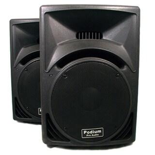 Podium Pro PP1210 PA DJ Karaoke Band Black 12-inch Two Way ABS Plastic Speaker Pair PP1210-PR