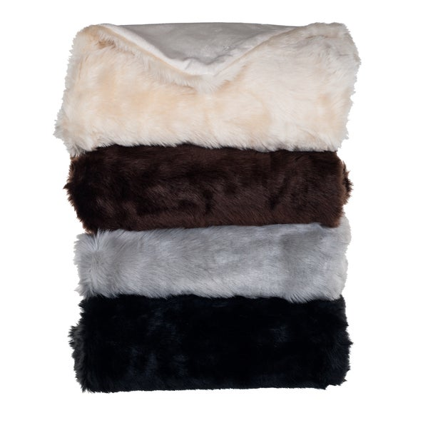 Lavish Home Luxury Long Haired Faux Fur Throw in Grey(As Is Item)