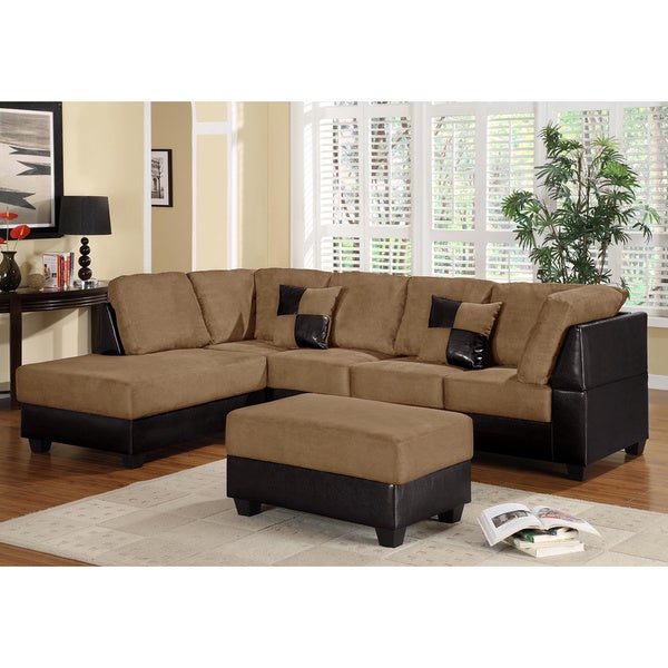 LYKE Home Guss Saddle Reversible Sectional and Ottoman