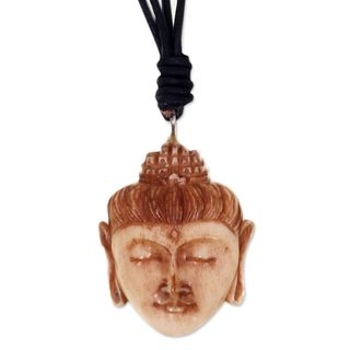 Handcrafted Leather Bone 'Buddha Head II' Necklace (Indonesia)