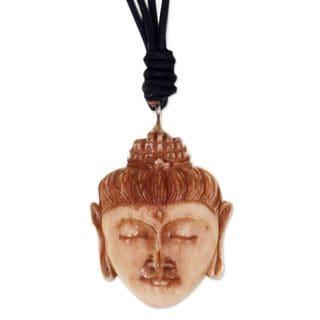 Handcrafted Leather Bone 'Buddha Head II' Necklace (Indonesia)