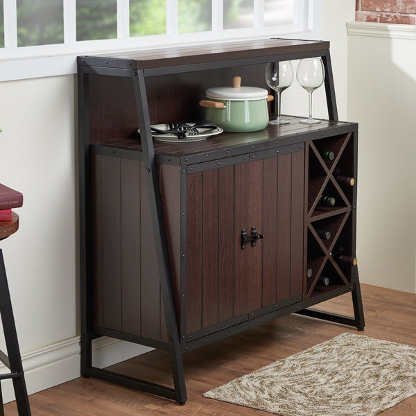 Furniture of america rochulls industrial walnut multi for Furniture of america alton modern multi storage buffet espresso