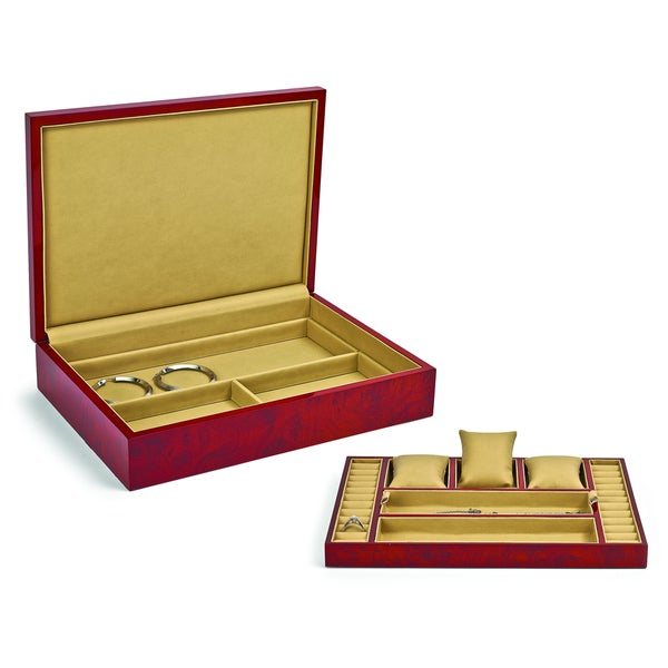 Blonde Burlwood High Gloss Finish Jewelry Box