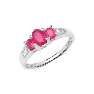 Malaika .925 Sterling Silver 1 1/10 ct Genuine Ruby & White Diamond Accent Ring