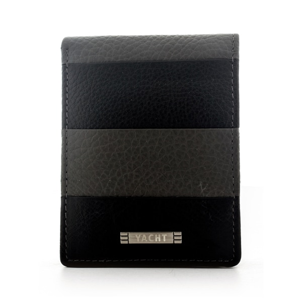 Yacht Men's Leather Grey Stripe Bifold Wallet