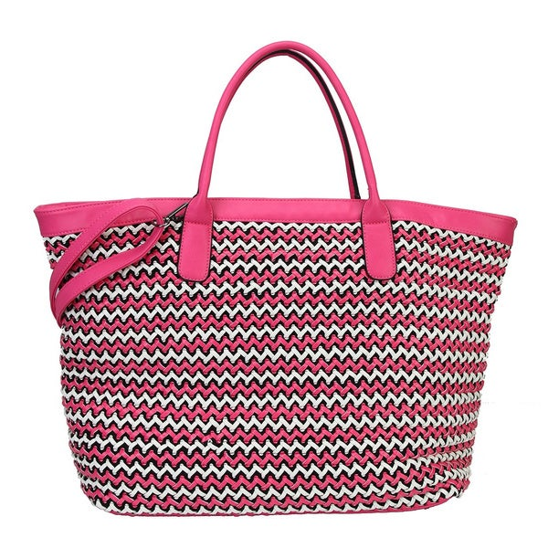 Diophy Zig Zag Design Tote Shopper Shoulder Handbag