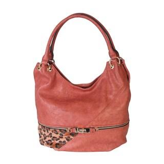 Rimen and Co. Soft Faux Leather Animal Print Hobo Handbag