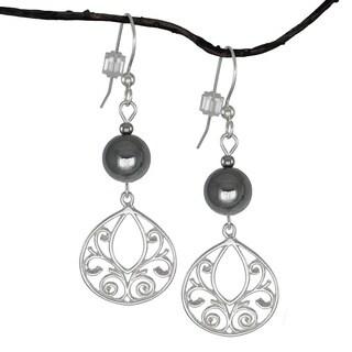 Jewelry by Dawn Hematite Fancy Filigree Teardrop Sterling Silver Earrings