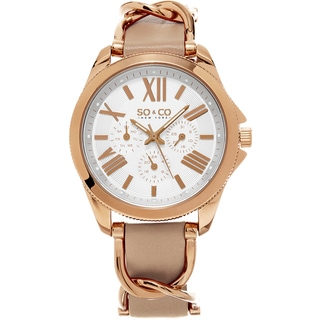SO&CO New York Women's SoHo Quartz Leather Strap Surounded By Stainless Steel Link Watch