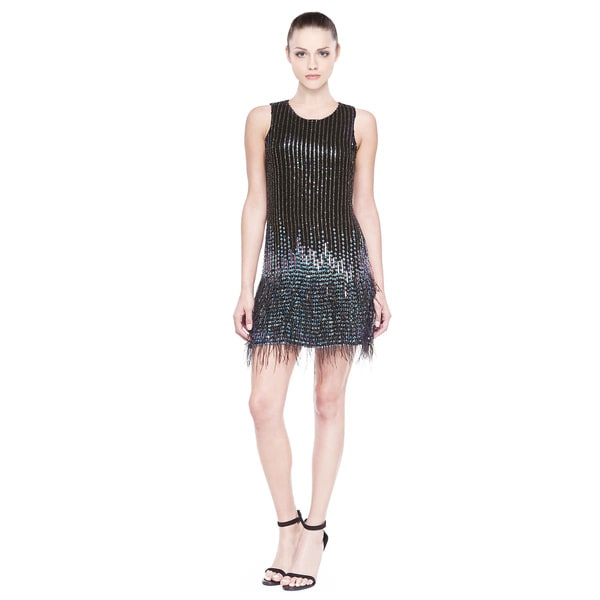 Parker Allegra Embellished Feather Hem Cocktail Dress (Size 2)