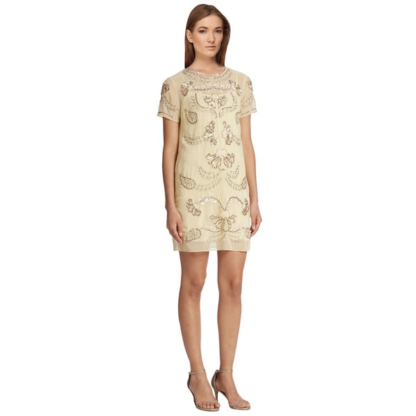 Needle & Thread Embellished Short Sleeve Shift Cocktail Dress (Size 6)