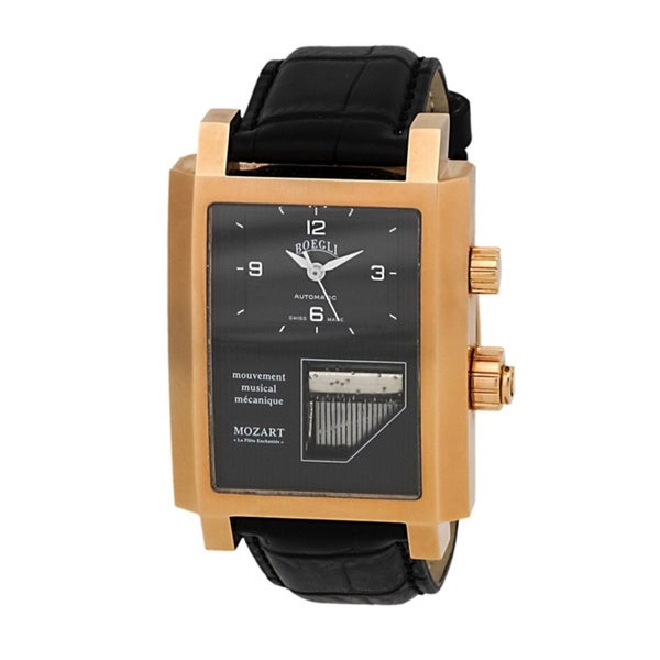 Boegli Men's Grand Festival Automatic Rose Gold Plated Black Leather Watch