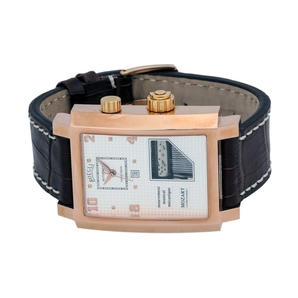 Boegli Men's Grand Festival Automatic Rose Gold Plated Brown Leather Watch