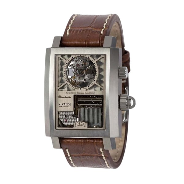 Boegli Men's Classic Rock Manual Winding Stainless Steel Brown Leather Watch