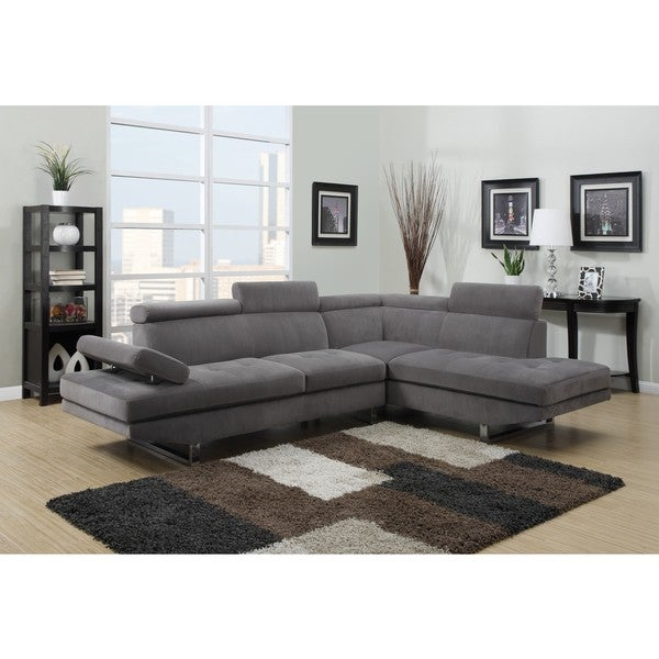 LYKE Home Matt Grey Fabric Sectional
