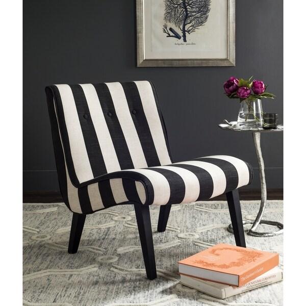 Safavieh Mandell Black/ White Linen Blend Stripe Chair