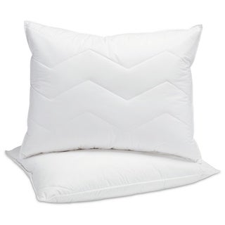 Fusion White 95/5 Mini Feather and Down with Polyester Chevron Quilted Medium Firm Pillow (Set of 2)