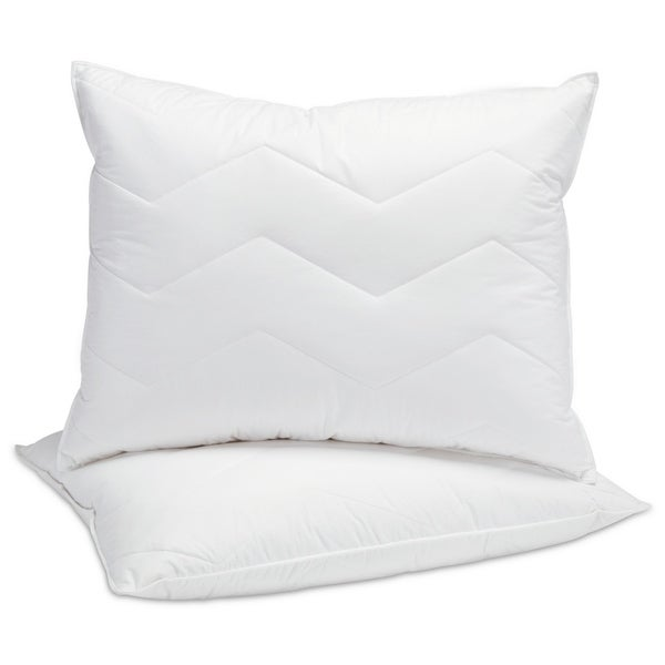 White 95/5 Mini Feather and Down Polyester Chevron Quilted Medium Firm Pillow (Set of 2)