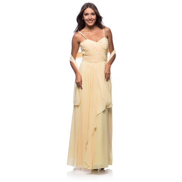 DFI Women's Long Sweetheart Crossover Bridesmaid Dress(2XL/Peach) (As Is Item)