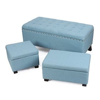 Adeco Home 3-piece Lift Top Ottoman Storage Bench