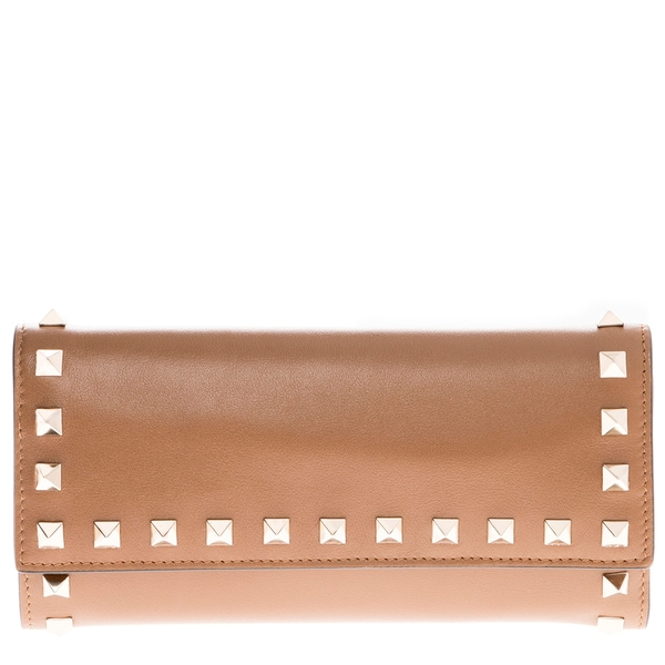 Valentino Leather Rockstud Fold-Over Wallet