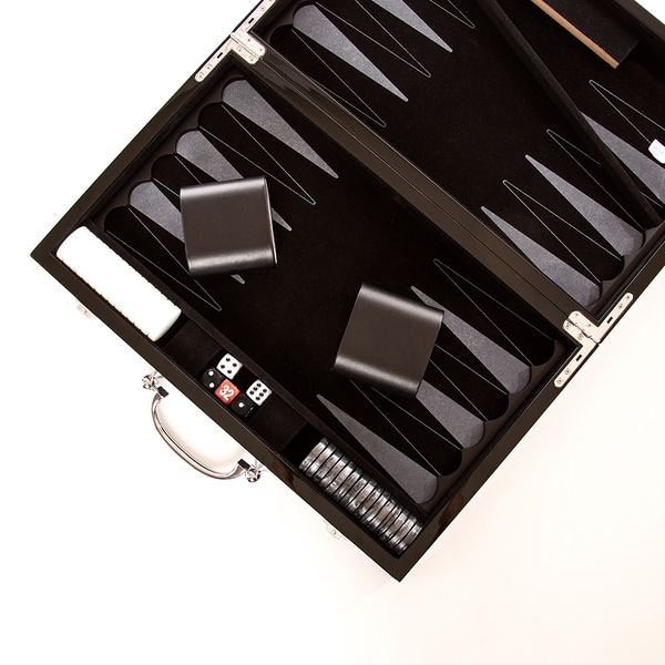 "Carbon Fiber 15"" Backgammon Set"