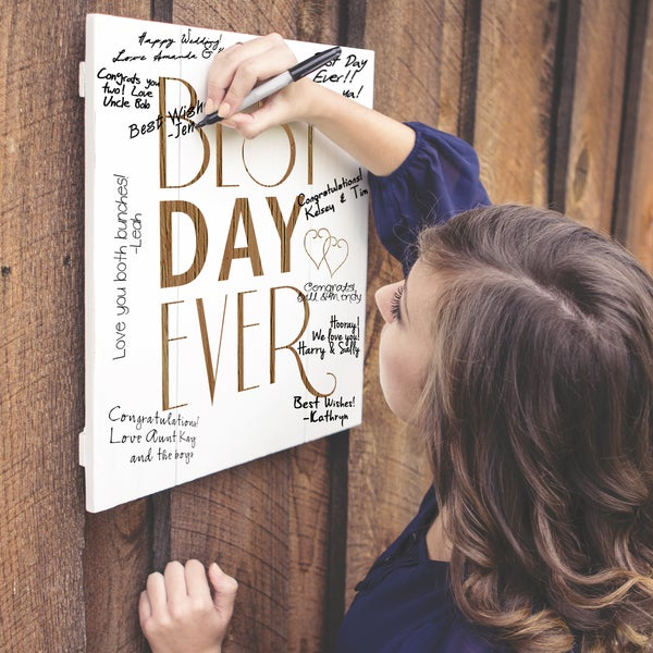 Best Day Ever Wood Art Guest Book