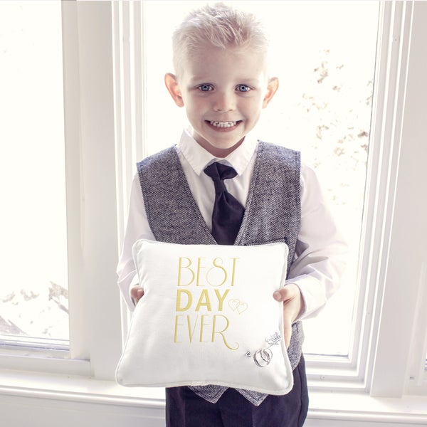 Best Day Ever Ring Bearer Pillow With Heart Pin