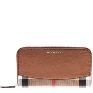 Burberry House Check Brown Leather Zip Around Wallet