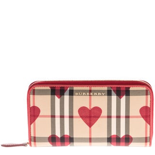 Burberry Horseferry Check and Hearts Zip Around Wallet
