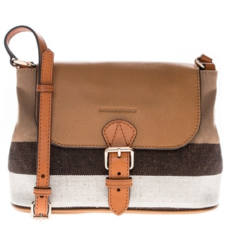 Burberry Small Canvas Check and Leather Crossbody Bag