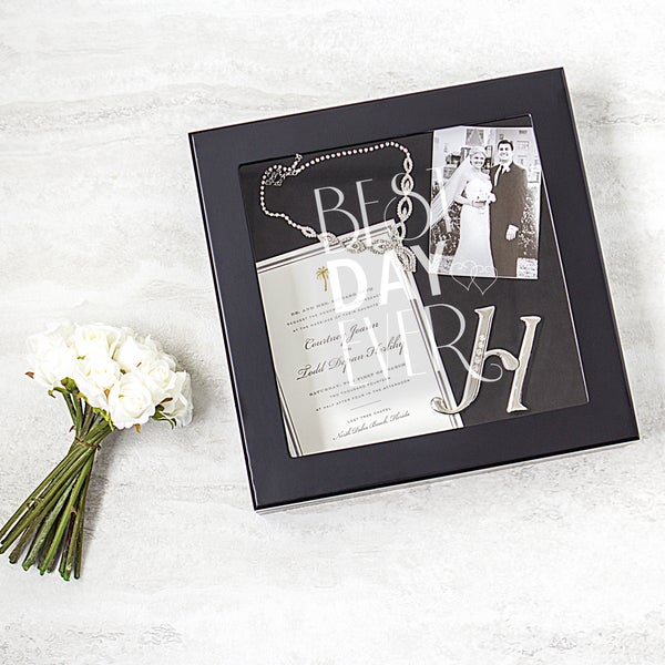 Best Day Ever Black Wedding Wishes Keepsake Shadowbox