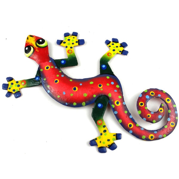 Hand Painted Eight Inch Metal 'Red Confetti' Gecko (Haiti)