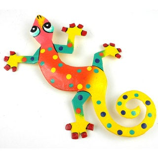 Hand Painted Eight Inch Metal 'Yellow Tail' Gecko (Haiti)