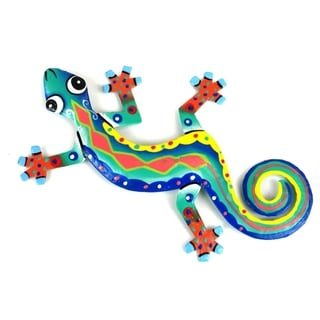 Hand Painted Eight Inch Metal 'Harlequin' Gecko (Haiti)