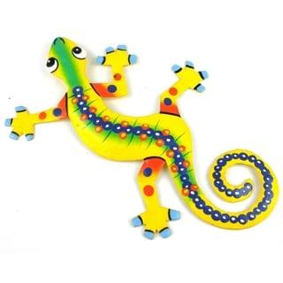 Hand Painted Eight Inch Metal 'Serpentine' Gecko (Haiti)