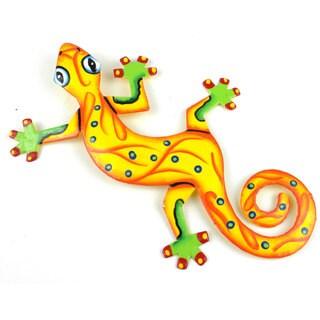 Hand Painted Eight Inch Metal 'Sunshine Yellow' Gecko (Haiti)