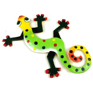 Hand Painted Eight Inch Metal 'Lots of Dots' Gecko (Haiti)