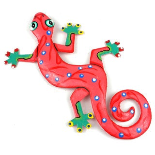 Hand Painted Eight Inch Metal 'Bright Pink' Gecko (Haiti)