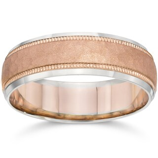 14k Two-Tone Gold Men's 6mm Brushed Wedding Band