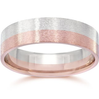 14k Two-Tone Rose & White Gold Men's 6mm Brushed Wedding Band