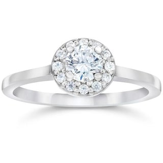 14k White Gold 1/2ct TDW Round Diamond Engagement Halo Engagemnt Ring (H-I,I1-I2)