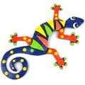 Hand Painted Eight Inch Metal 'Blue Zig Zag' Gecko (Haiti)