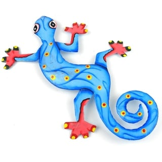 Hand Painted Eight Inch Metal 'Ocean Blue' Gecko (Haiti)