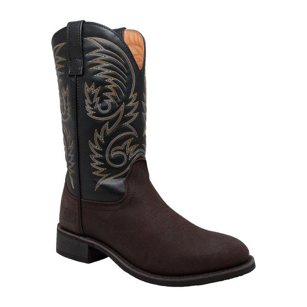 Men's Black/ Brown 11-inch Round Toe Western Pull On Boots