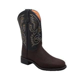 Men's 11-inch Black/ Brown Square Toe Western Pull On Boots