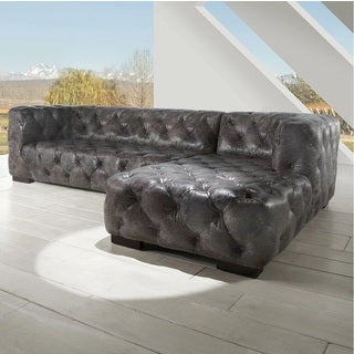 Lazzaro Leather Manhatton Vintage Grey Sectional Sofa